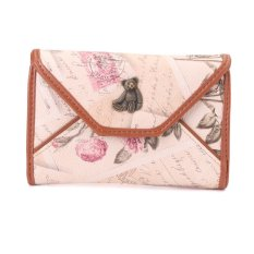 Leather Wallets Lady Handbag Clutch Envelope Party Bear Wallet Apricot