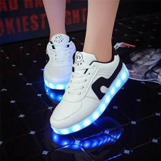 LED Light Women Men Shoes Fashion Sneakers Flat PU Breathable Casual Sports Shoes USB Charging (White Black) - Intl