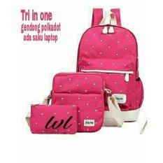 Lestari Fashion Tas Ransel 3in1 Back Pack ttk LS001 pink .