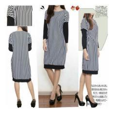 LF Dress Salur / Dress Midi Spandek / Baju Panjang / Long Hem / Terusan Wanita