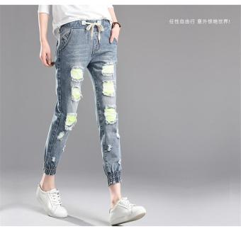 6868bafd6d Light Blue Korean Women Summer Pants Holes Fashion New Casual Trousers for Ladies  Ripped Mid Waist