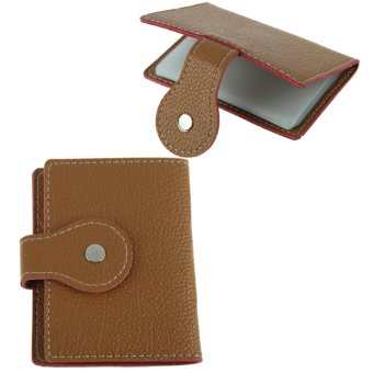 Light Coffee PU Leather Business Case Wallet Credit Card Purse for 20 Card - Intl - intl