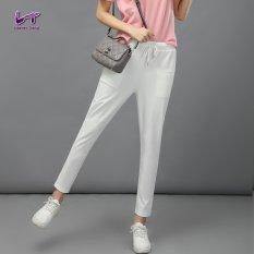 Likener Trend Casual Harem Celana Elastic Waist Ankle-length Celana (White)