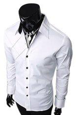 Linemart Long Sleeve Mens Casual T Shirt (White) (Intl)
