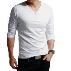 Linemart V-Neck Men's Long Sleeve Casual T-Shirt Tops (White) (Intl)