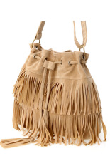 Linemart Women's Faux Suede Fringe Tassels Cross-body Bag Shoulder Bag Handbags (Beige)