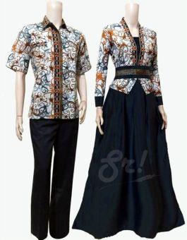 Lokal Batik Couple Gamis Sarimbit Sri Rejeki Solo Bc402