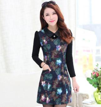 Long sleeved Large Size Fashion Autumn Winters A word Printed Cloth Dress Plus .