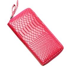 Long Snake Leather Purse / Handbag Organizer Wallet Zippered Cluth Card Holder(Rose Red)