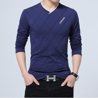 Longgar Musim Gugur Pria Lengan Panjang T-shirt (1183 safir biru)