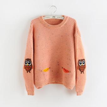 LOOESN lucu perempuan musim gugur dan musim dingin siswa SMA sweater manis sweater (Kulit bedak