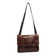 Lunar Castello Men Leather Messenger Bag - Dark Brown