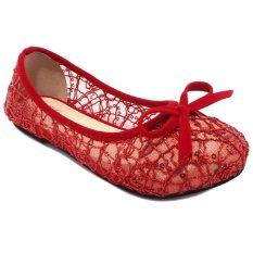 Lunetta Sepatu Anak Flat Shoes Slip On Jaring Pita (Merah)