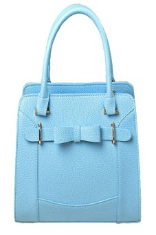 Lychee Pattern PU Leather Handbags Bowknot Messenger Bags Blue