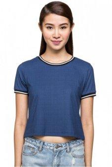 LZD Boxy Contrast Ripped Tshirt Blue