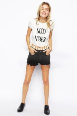 M~2XL Casual Short Sleeve T Shirt Women 2015 Style New Slim Fringed Hem Letters Printed Round Neck Crop Top White