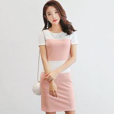 Manis Lengan Pendek Gaun Wanita Slim Rok (Merah Muda Warna)
