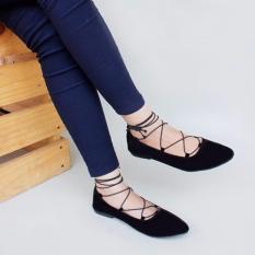 Lihat Detil · Marlee - Balet Lace Up Flat Shoes - Black