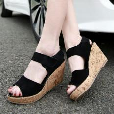 Marlee RE-02 Open Toe Wedges - Hitam