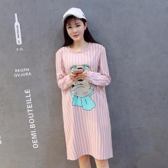 6ac96c10fa8d6 Maternity Dresses Casual Cotton Stripe Pregnant T-Shirt Dresses Pink - intl
