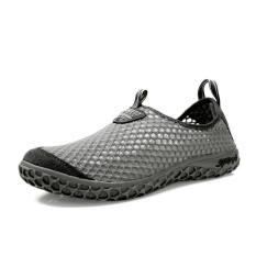 Men Breathable Mesh Sport Lace-Ups Low Cut Sneakers-Grey