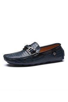Men Casual Loafers Fashion Genuine Leather Shoes Korean Crocodile Pattern Men Slip-On Shoes (