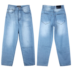 Men Cotton Denim Straight Loose Jeans Plus Size (BlUE) - Intl