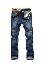 Men Destroyed Hole Straight Skinny Jeans (Dark Blue) (Intl)