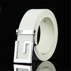 Men Korean Style G Letter Belt MBT885103-5 White