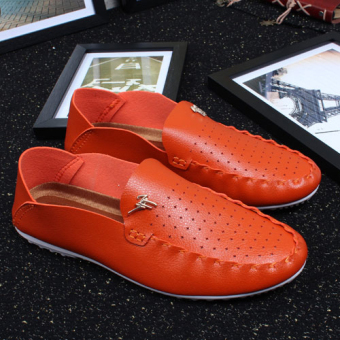Men Korean Version Of A Pedal Lazy Shoes Casual Fashion Trend Shoes British Youth (Orange) .
