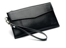 Men Leather Ultra Thin Clutch Bag Wallet (Black)