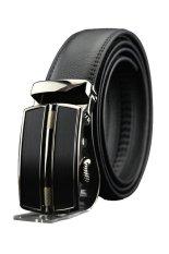 Men Leather Waist Strap Belt Waistband Automatic Buckle (Black)