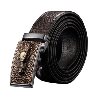 Men Luxury Crocodile Genuine Leather Automatic Belt MBT08911-2 Coffee