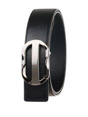 Men Reversible Full Grain Leather Belt PJ11A005 Black / Style 2