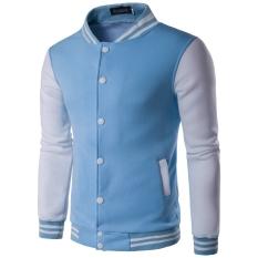 Men 's Stand - Collar Sweatshirt Casual Sportswear Baseball Clothing Light Blue - Intl