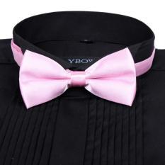 Men Satin Bow Tie Dickie Bow Pre-Tied Wedding Tuxedo Tie Necktie Pink A