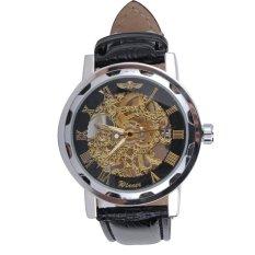 Men Skeleton Transparent Wheel Gear Totem Mechanical Leather Band Watch Rose Gold Black
