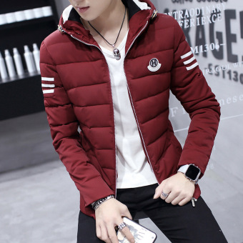 Men Winter Coat Slim Hooded Cotton Youth Tide Korean Students Thick Warm Jackets Coats