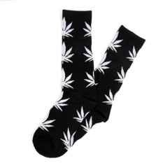 Men Women Leaf Cotton Ankles High Sock Casual Socks (White)
