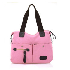 Men Women Pillow Vintage Canvas Bag Shoulder Messenger Handbag Pink - Intl