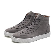 Men's Suede Simple Style Street Style High Top Suede Skateboard Shoes(Grey) - intl