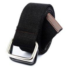 Men&Women Bicyclic Buckle Woven Canvas Belt Waist Belt (Black)