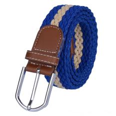 Men&Women Elastic Woven Casual Belt Canvas Waist Belt (Blue)