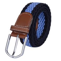 Men&Women Elastic Woven Casual Belt Canvas Waist Belt (Sky Blue)
