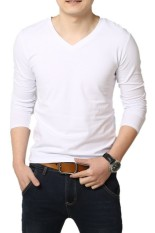 Men's Cotton V-neck Long Sleeve T-shirt White