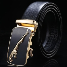 Men's Business Belt Fashionable Artificial Leather Dress Belt with Automatic Buckle(black) - intl