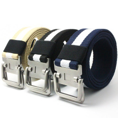 Men's Canvas Belt Casual Waistband Double Anolly Buckle