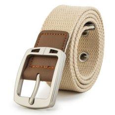 Men's Casual Belt Braided Canvas Waist Belt (Beige)