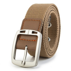 Men's Casual Belt Braided Canvas Waist Belt (Brown)