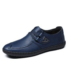 Men's Casual Leather Shoes British Style Low Cut Breathable Shoes Vogue Breathable Leather Shoes (Blue) (Intl)